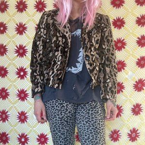 vintage 90s grandma leopard print jacket blazer